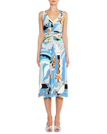 Emilio Pucci V-Neck Ruched-Waist Midi Dress