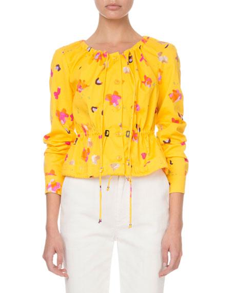 Altuzarra Agata Long-Sleeve Painterly Floral Blouse