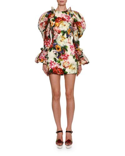 Puff-Shoulder Floral Mini Dress