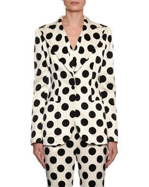 4725a82bdba5 Dolce   Gabbana Single-Breasted Polka Dot Duchesse Jacket