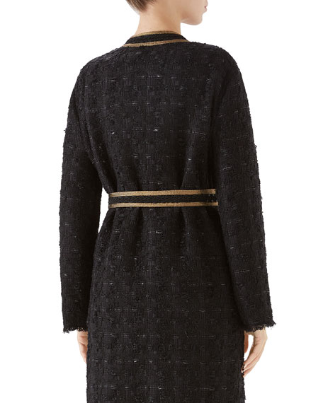 Gucci Tweed Ribbon-Embroidered Coat