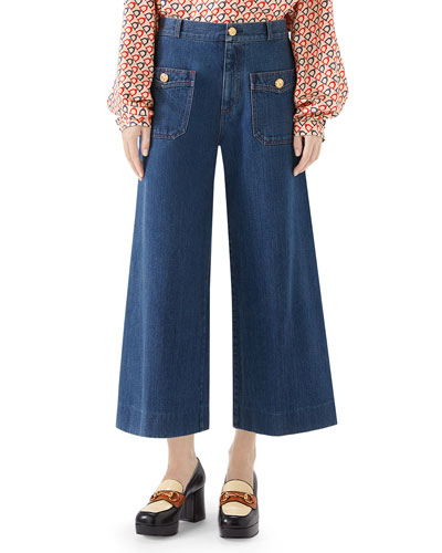 Washed Denim Wide-Leg Pants