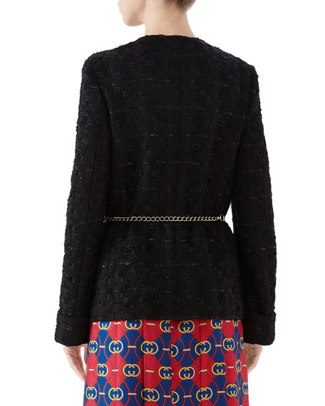 Gucci Fitted Tweed Jacket with Chain Belt