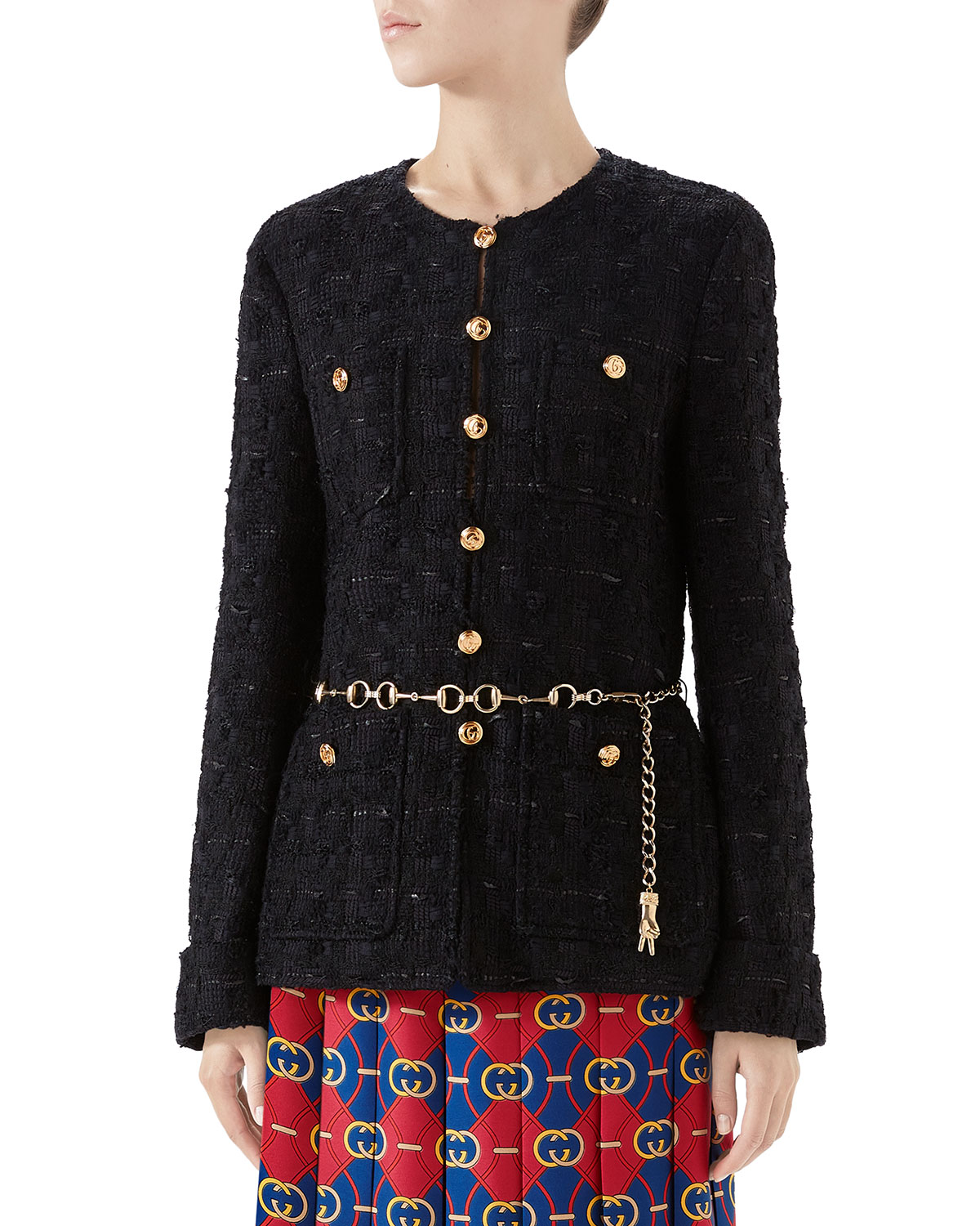 724a3272d Gucci Fitted Tweed Jacket with Chain Belt | Neiman Marcus