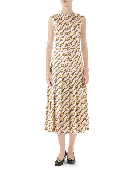 Gucci Stirrups Print Silk Dress