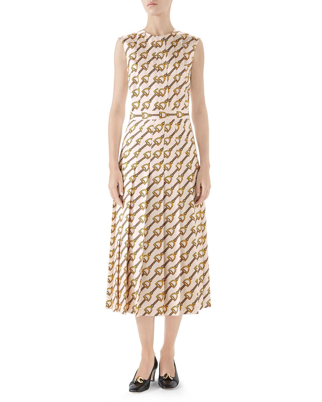 54fa56a2b Gucci Stirrups Print Silk Dress   Neiman Marcus