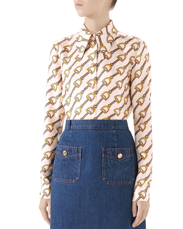 d118af2dd Gucci Stirrup Rain Silk Twill Shirt   Neiman Marcus