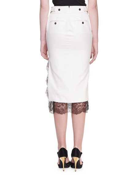 TOM FORD Light Mikado Lace-Hem Trouser Skirt
