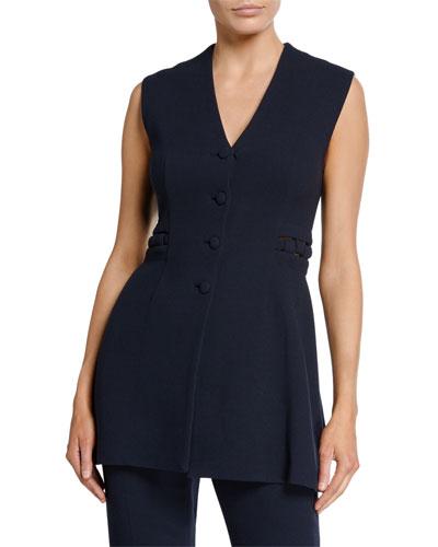 V-Neck Button Front Wool Crepe Vest