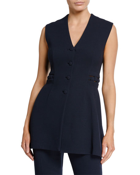 Lela Rose V-Neck Button Front Wool Crepe Vest