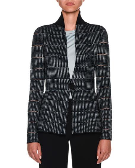 Giorgio Armani Ottoman-Jacquard Sheer-Stripe Jersey Blazer