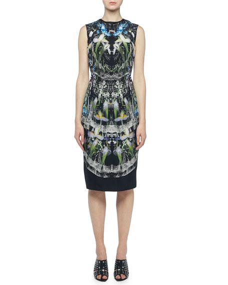 Alexander McQueen Ophelia Printed Sleeveless Sheath Dress