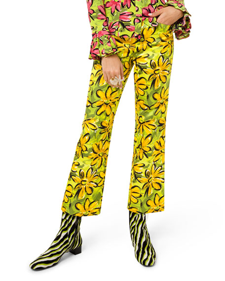 Michael Kors Collection Daisy Floral-Print Sateen Trousers
