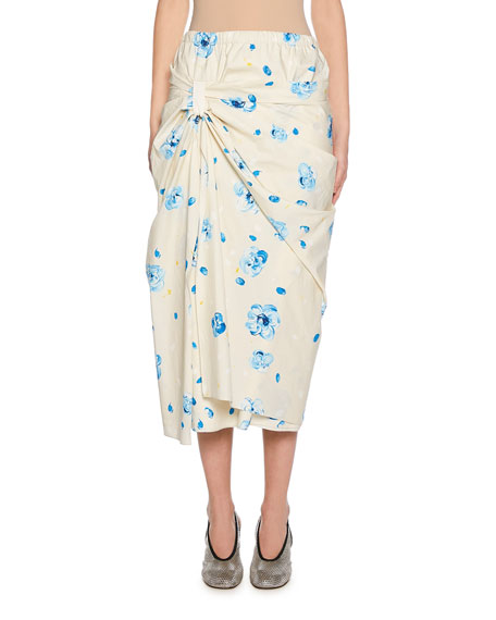 Marni Floral Painted Gathered Poplin Skirt