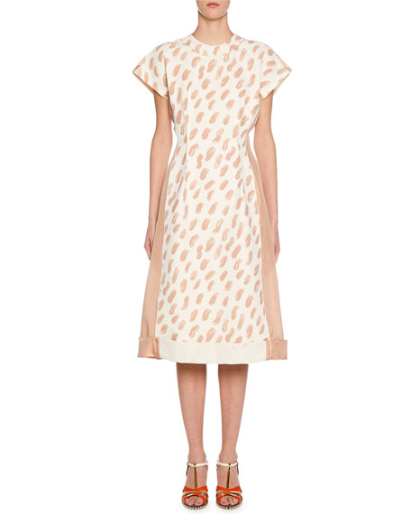 Image 1 of 2: Short-Sleeve Brushstroke Print Midi Dress