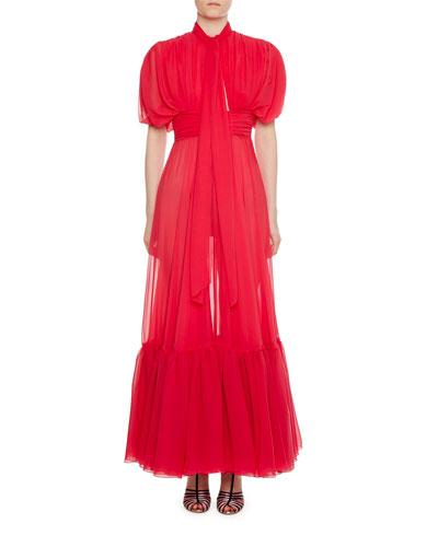 Tie-Neck Tiered-Hem Silk Gown