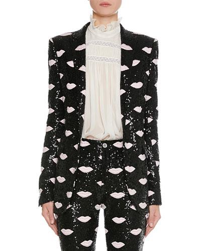Lip-Embroidered Sequin Blazer