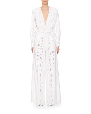 350fb7a4446 Off-White 80s Sangallo Lace Plunge-Neck Jumpsuit
