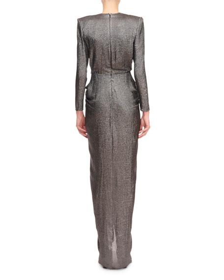 Redemption Shimmer Silk Deep-V Gathered Waist Dress