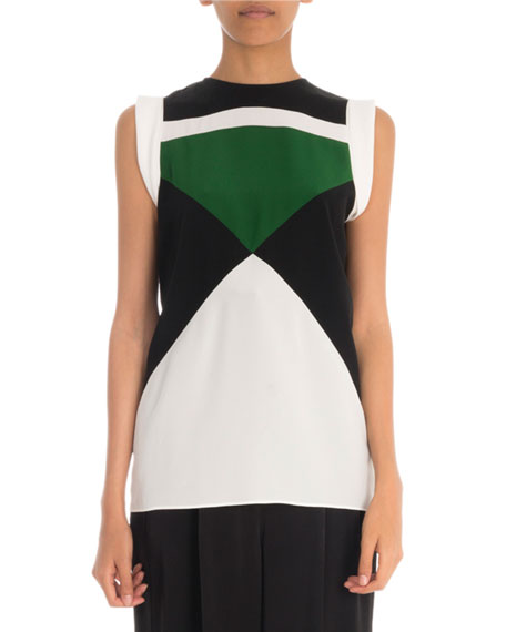 Givenchy Sleeveless Colorblocked Silk Crepe de Chine Blouse