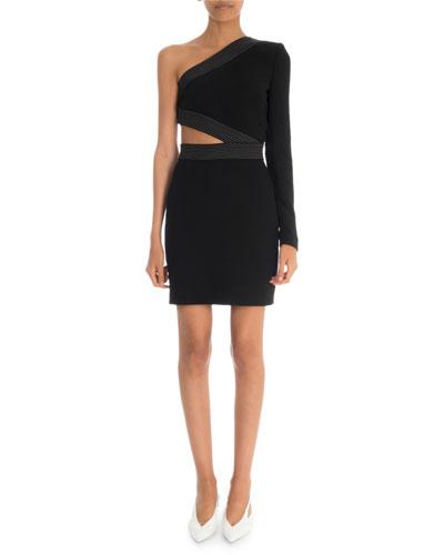 One-Sleeve Cutout Fluid Jersey Cocktail Dress