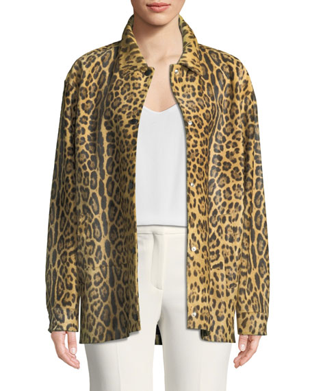 Valentino Leopard-Print Calf Hair Snap-Front Coat