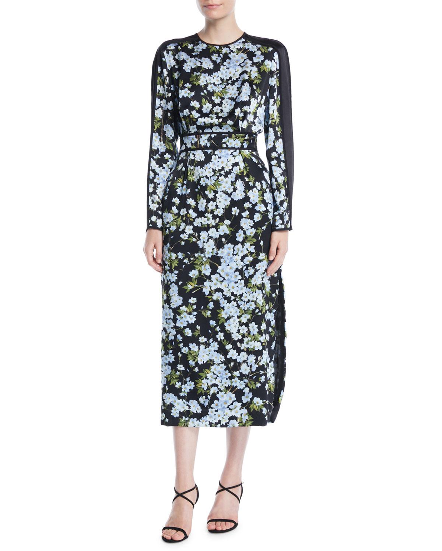96d0f5f3ac0b EscadaLong-Sleeve Floral-Print Hammered Silk Midi Dress w  Chiffon Inset