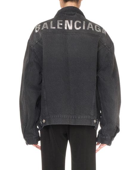 Balenciaga Logo Graphic Denim Jacket