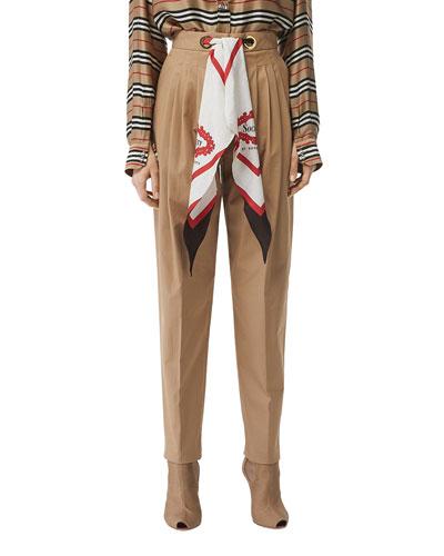 Slim-Leg Scarf-Waist Pants
