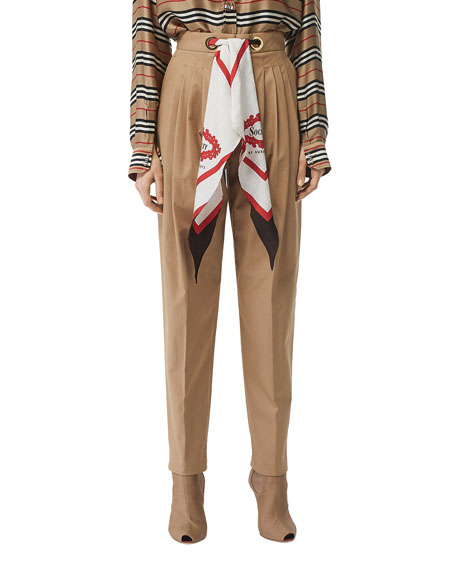 Burberry Slim-Leg Scarf-Waist Pants