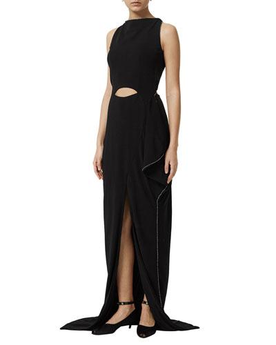 High-Neck Keyhole-Waist Gown