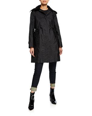 03a4153f55f5 Burberry Taffeta Corduroy-Collar Rain Coat, Black