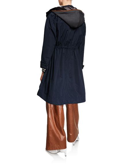 Brunello Cucinelli Taffeta Zip-Front Hooded Coat