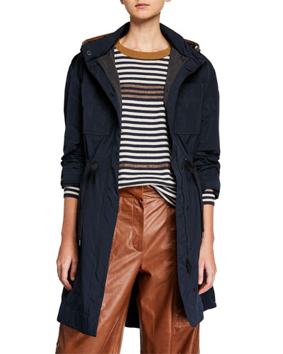 Taffeta Zip-Front Hooded Coat