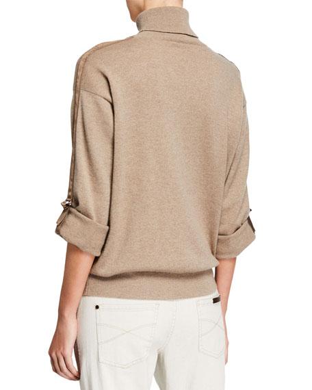 Brunello Cucinelli Cashmere Monili-Beaded Ribbon-Trim Turtleneck Sweater