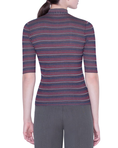 Akris 1/2-Sleeve Checked Silk-Knit Sweater