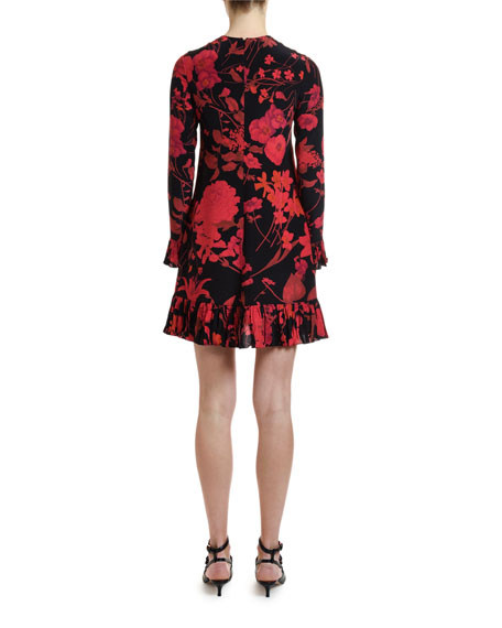 Valentino Long-Sleeve Crinkle Pleated-Cuff Dress
