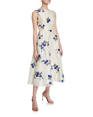 12f9e02a07 Lela Rose Floral Jacquard Boat-Neck Full Skirt Dress
