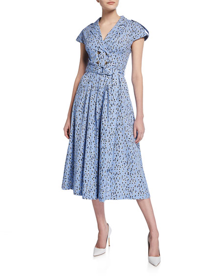 Lela Rose Double-Breasted A-line Shirtdress