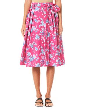 69aac47a4a Carolina Herrera Vine-Leaf-Print Belted Skirt