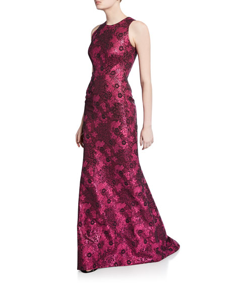 Image 1 of 3: Metallic Jacquard Sleeveless Gown