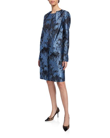 Zac Posen Jewel-Neck Jacquard Evening Coat