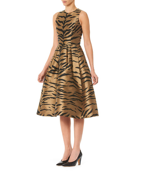 Carolina Herrera Tiger Print Taffeta Fit-&-Flare Dress