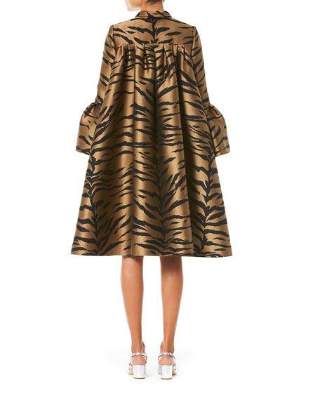 Carolina Herrera Flare Sleeve Tiger Print Cape Coat