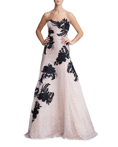Marchesa Floral Embroidered Tulle Strapless Gown