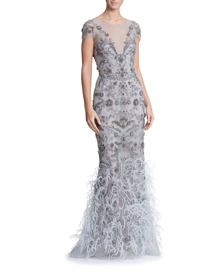 Marchesa Feather-Embellished Tulle Illusion Gown