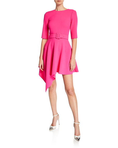 Oscar de la Renta Asymmetric Short-Sleeve Day Dress