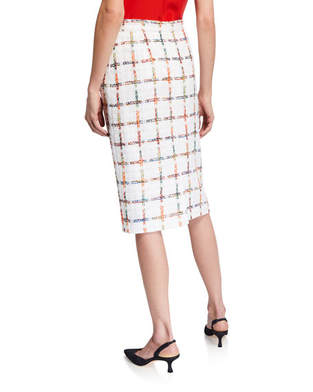 Escada Windowpane Tweed Pencil Skirt