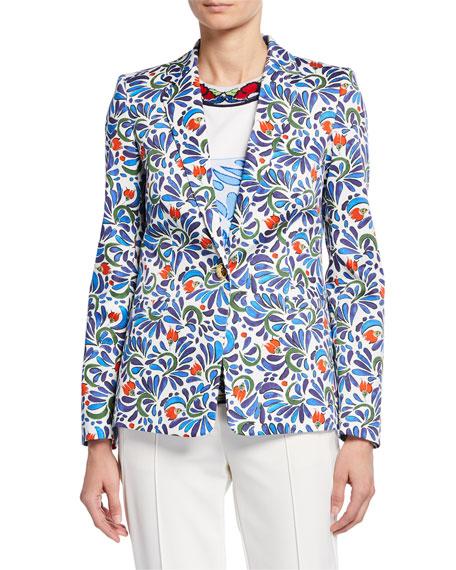 Escada Stretch Ceramic-Print Cotton Blazer Jacket