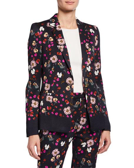 Escada Floral Jacquard One-Button Jacket